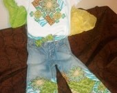 Custom Listing for Sara5229- 0-3 Months Vintage Retro Patch jeans & tee