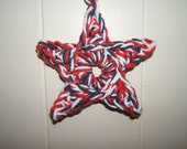 Red, white and blue crochet star