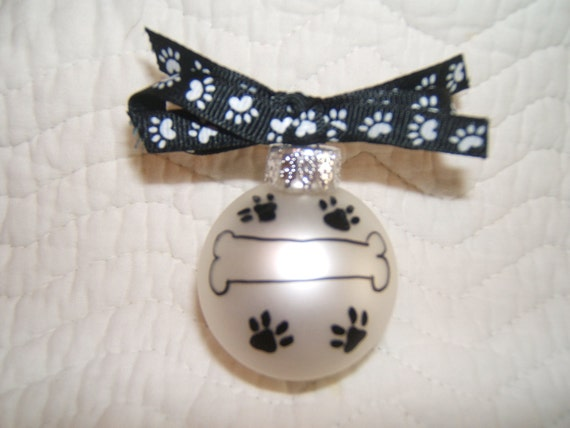 Pet Dog Glass Christmas Ornament