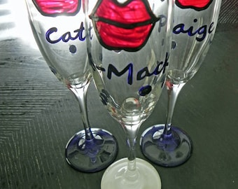 Kiss The Bride champagne flutes