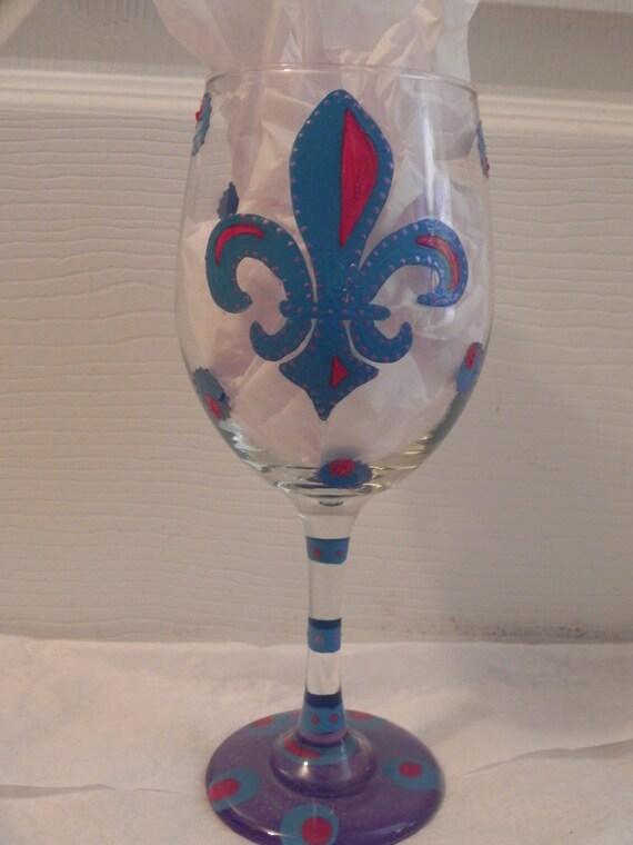 Fleur De Lis Wine Glass, Fleur de leis, New Orleans Wine glass, Custom painted wine glass