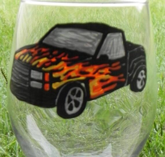 Truck w/ flames Wine Glass
