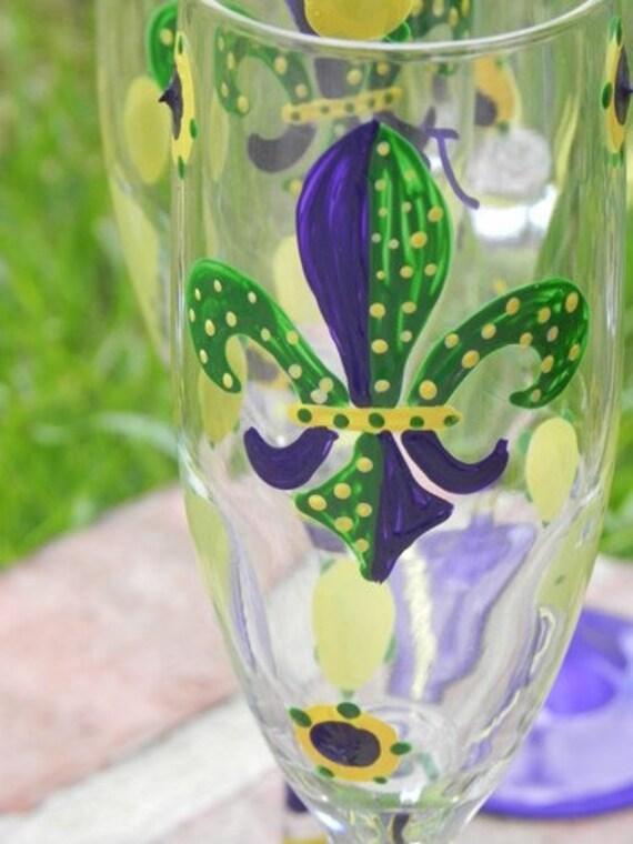 Mardi Gras champagne flutes