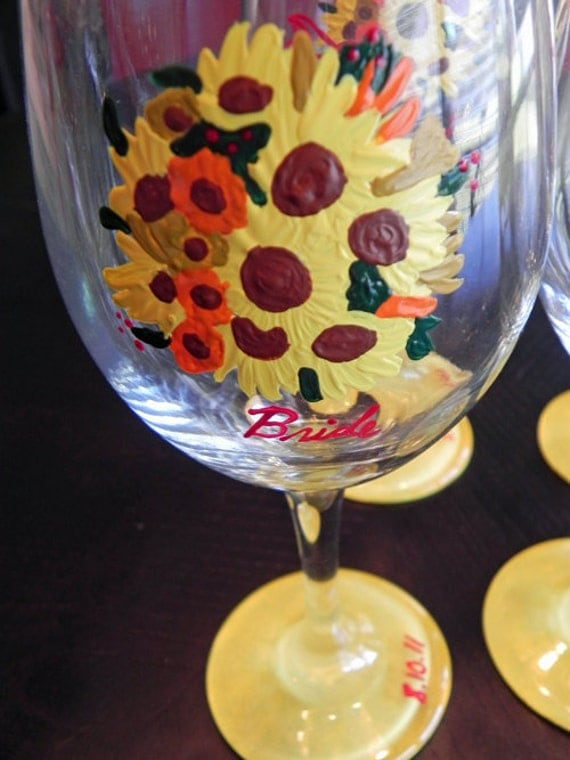 Sunflower Bouquet Wine Glass
