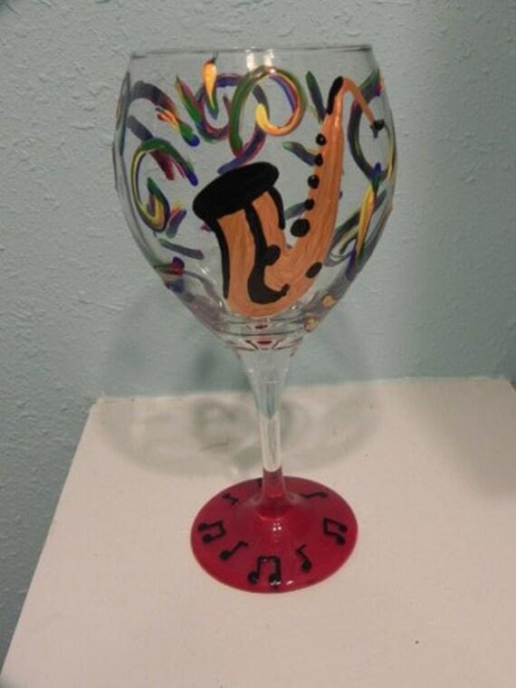Jazz Wine Glass, Saxaphone Wine Glass, New Orleans Wine Glass, Musical Wineglass