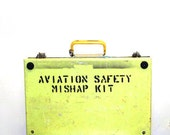 Vintage Yellow Aviation Safety Mishap Kit - Airplane Safety Box