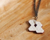 Cascading Prism Tesselation Geometric Wood Necklace