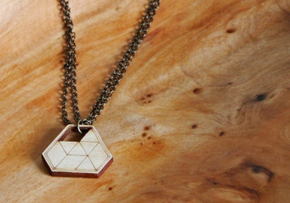 Prism Geometric Wood Pendant Necklace