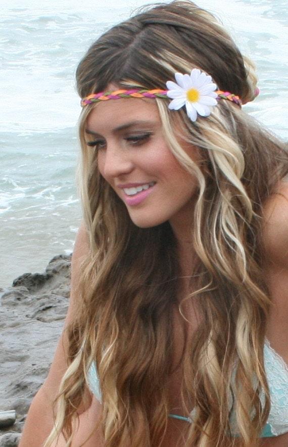 Custom white daisy Hippie Headband