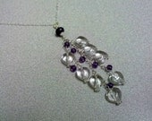 Sterling Silver Necklace Rock Crystal Amethyst