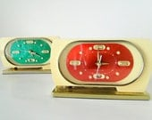 RED - Vintage Colorful Chinese Mechanical Alarm Clock -  Late 60's, early 70s