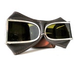 VINTAGE - Aviator / Motorcycle Leather Made Smoked Goggles - Shanghai 1972
