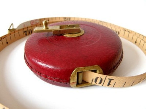 Reserved for CORA11, please don't purchase - Red Vintage Leather Tape Measure