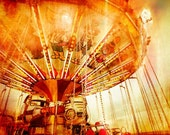 Memories, remembrance from childhood, old carousel scene - Fine art photography - A fine art  print (8x12) on archival paper. orange hue
