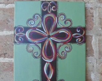 Hand Painted Canvas Cross