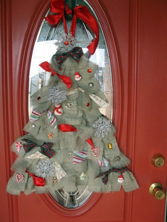 Burlap Christmas Tree Door Hanger Wreath