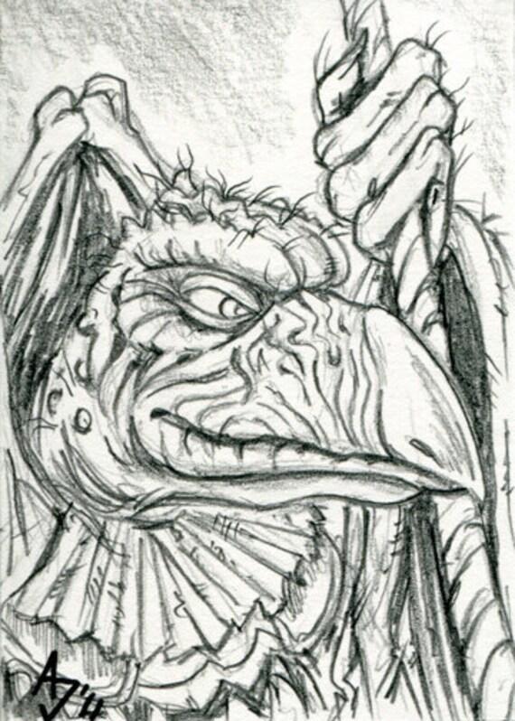Skeksis from Dark Crystal Sketch Card