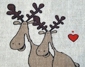 Linen  Fabric with Christmas funny  moose