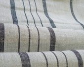 Pure  linen fabric with black  stripes 5M