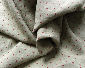 Provence  red dots on dark linen background--pure linen--soft--apparel