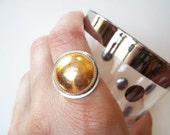 Gold Cocktail Ring- Recycled Vintage Gold-tone Button and Silver- Statement Jewelry