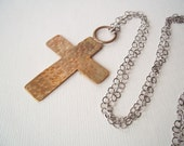 Rustic Gold Cross Necklace in Hammered Brass on Long Silver Chain. Mixed Metal Statement