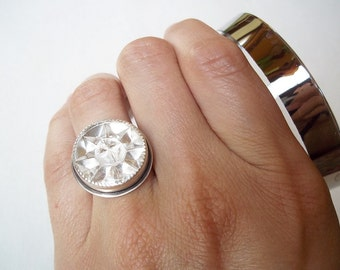 Faux Diamond Ring. Recycled Vintage Glass Button. Chunky Ring. Cocktail Statement Jewelry