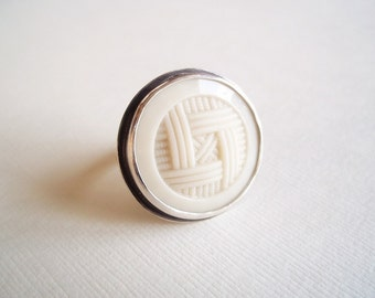 Statement Jewelry. Vintage Glass Plaid Button in Sterling Silver Ring. Recycled Jewelry