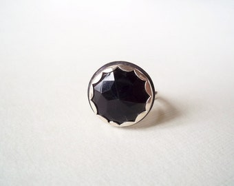 Black Ring. Glass Vintage Button Jewelry. Recycled Jewelry