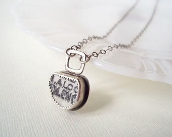 Recycled China Necklace. Pottery Shard Necklace in Sterling Silver. Small Recycled Found Object Jewelry