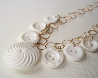 Recycled Button Jewerlry. White Vintage Button Necklace on Gold-filled Chain.