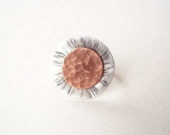 Hammered Copper and Silver Ring. Rustic Sun Dial. Mixed Metal Artisan Jewelry