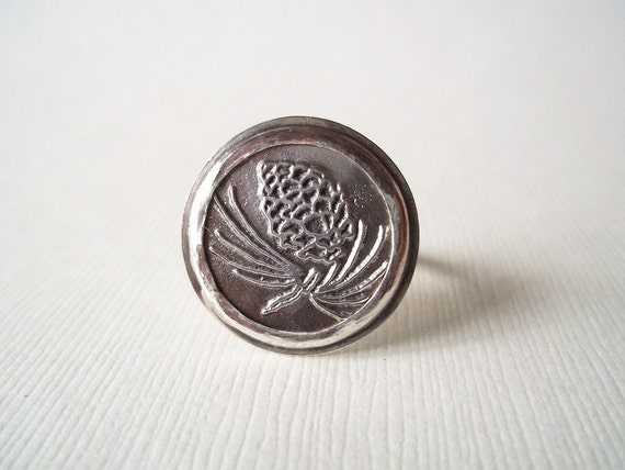 Silver Ring. Recyled Vintage Button in Sterling Silver. Woodland Pine Cone. Ready to Ship Jewelry