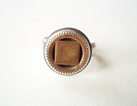 Mens Ring. Vintage Copper Button in Sterling Silver. Recycled Jewelry
