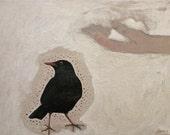 Original oil/acrylic bird painting, 'The gift'