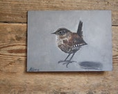 "Wren painting on board 5"" x 7"""