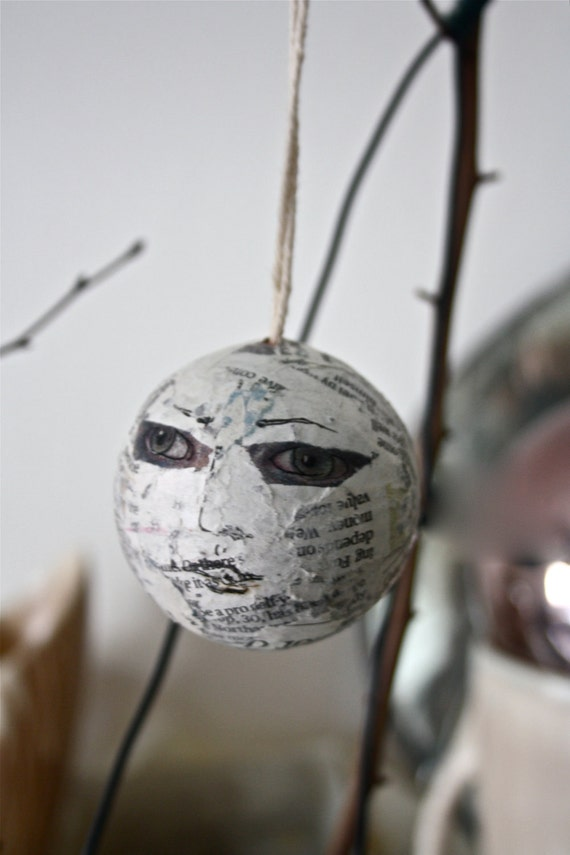 Spooky face bauble, collage and drawing