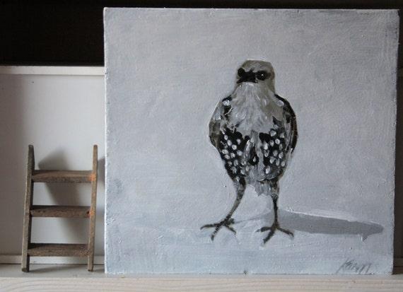 Starling bird painting on wood scrap block