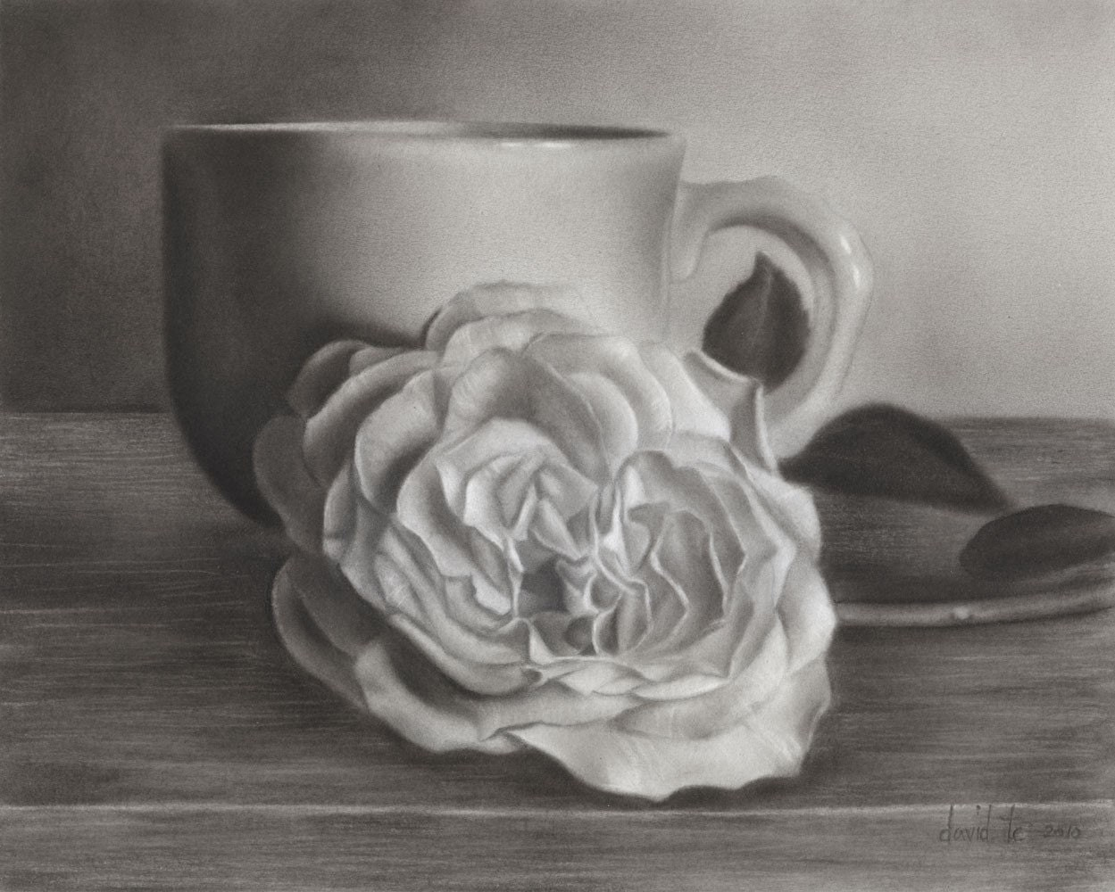 Cup o Rose 7.5x6 Realistic Flower Charcoal Drawing