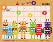 PRINTABLE Personalized Incentive Chart for Kids  - Robots - Three Color Schemes (orange, purple, blue) - Printable PDF Jpeg