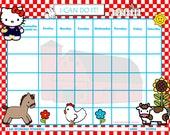 Custom Child Behavior Incentive Chart / Chore Chart - My Kitty says, Hello - Printable