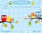 PRINTABLE Personalized Children's Reward Chart / Chore Chart - Owls -  Printable