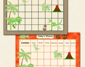 Printable Chore Chart / Reward Chart for Children Personalized -  Dinosaurs- 3 Versions (Brown Stone, Orange Lava, or Circles)