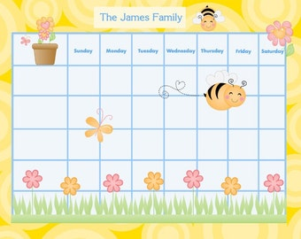Printable Personalized Family Chore Chart/ Calendar / To Do list - Busy Bees