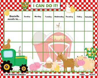 Personalized Child Behavior Incentive Chart - Farm - Printable Jpeg or PDF