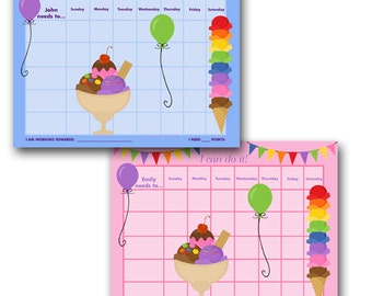 PERSONALIZED Child Behavior Incentive Chart - Ice Cream Treats - You Choose Blue or Pink - Printable