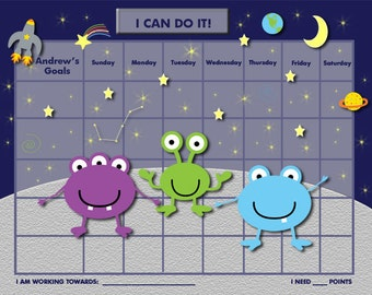 PERSONALIZED Child Behavior Incentive Chart / Chore Chart- Aliens - YOU Choose up to 3 aliens - Printable