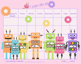 PRINTABLE Personalized Incentive Chart for Kids  - Robots - Four Color Schemes (orange, purple, blue, pink) - Printable PDF Jpeg