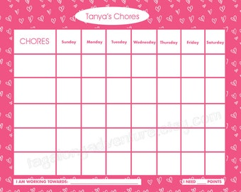 Printable Chore Chart for Children, Personalized, Candy Hearts, 8x10 Jpeg or PDF file