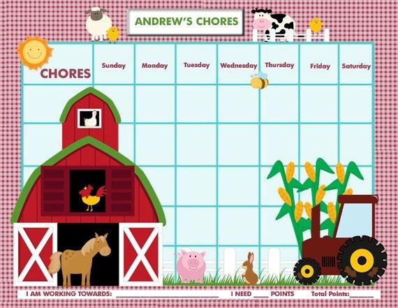 Customizable Chore Chart / Reward Chart for Children -  On the Farm - Printable Jpeg PDF